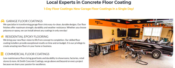 Sample website for epoxy contractors