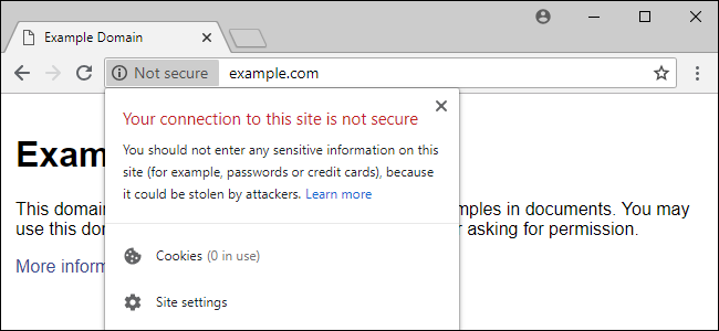 non secure website alert on Google Chrome